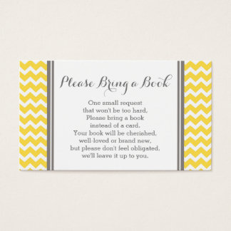 Yellow Chevron Baby Shower Book Request Card