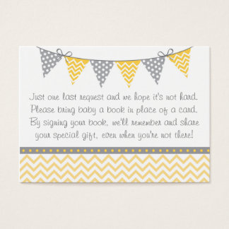 Yellow Chevron Baby Shower Book Request Cards
