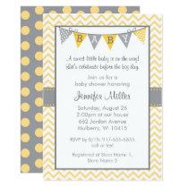 Yellow Chevron Baby Shower Card