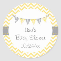 Yellow Chevron Baby Shower Classic Round Sticker