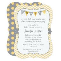 Yellow Chevron Baby Shower Die Cut Card