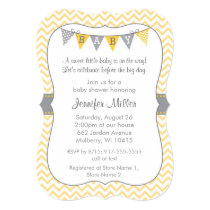 Yellow Chevron Baby Shower Invitations