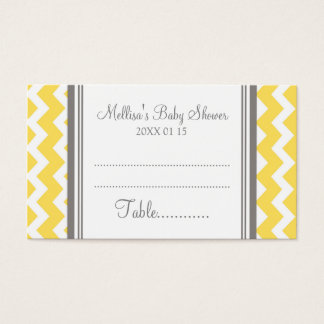 Yellow Chevron Baby Shower Table Place Setting Business Card