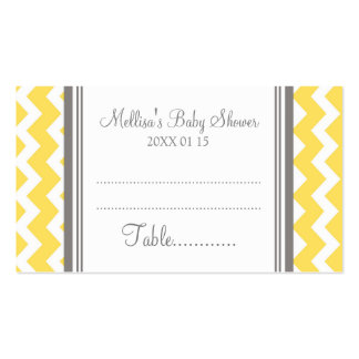 Yellow Chevron Baby Shower Table Place Setting Double-Sided Standard Business Cards (Pack Of 100)