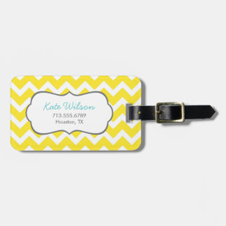 Yellow Chevron Bag Tag