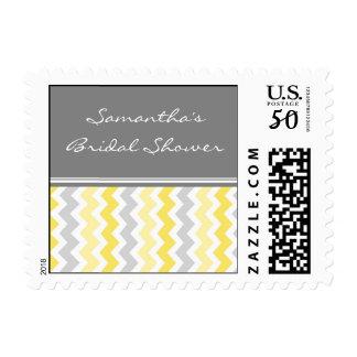 Yellow Chevron Bridal Shower Wedding Stamps