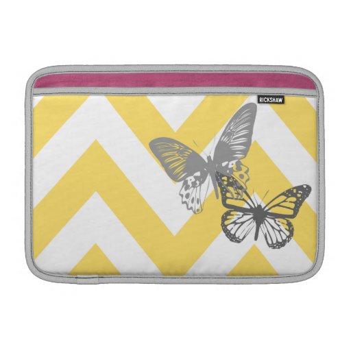 Yellow Chevron Butterflies MacBook Air Sleeve