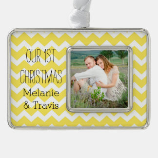 Yellow Chevron Couples First Christmas Ornament