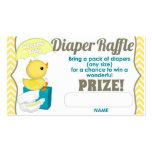 Yellow Chevron Ducky Diaper Raffle Tickets 100pk Business Card Template