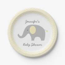 Yellow Chevron Elephant Baby Shower Paper Plate