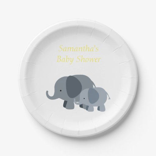 Baby Shower Plate: Yellow Chevron Elephant Baby Shower Party Plates 7 Inch