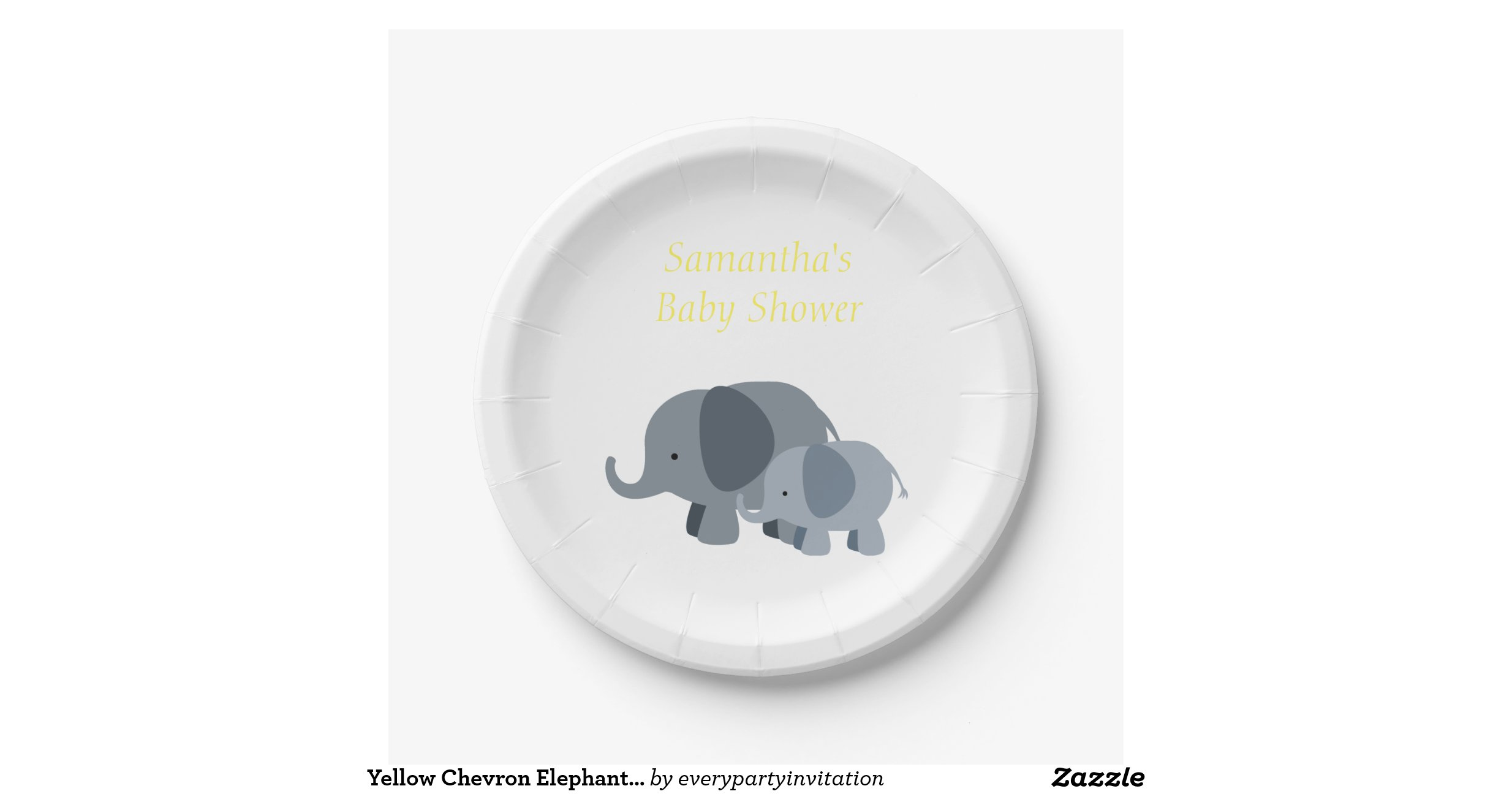 yellow chevron elephant baby shower party plates 7 inch paper plate