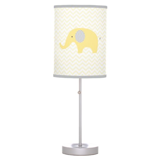 Yellow Chevron Elephant Chevron Nursery Lamp