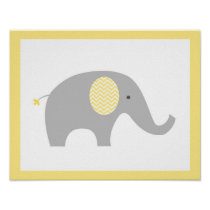 Yellow Chevron Elephant Nursery Wall Art Print