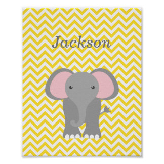 Yellow Chevron Elephant Personalized Nursery Decor
