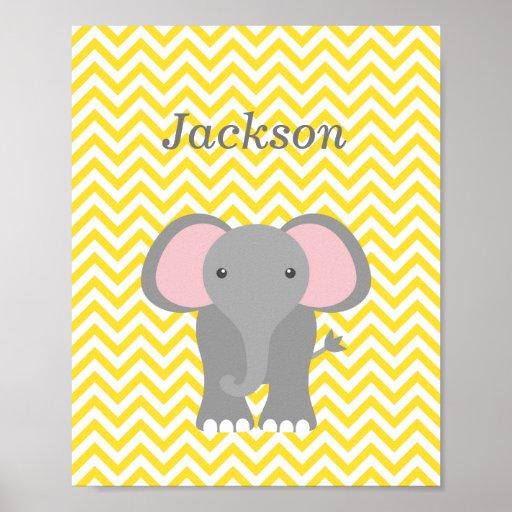 Yellow Chevron Elephant Personalized Nursery Decor Posters