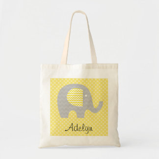 Yellow Chevron Elephant  Personalized Tote Bag