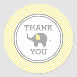 Yellow Chevron Elephant Thank You Favor Sticker