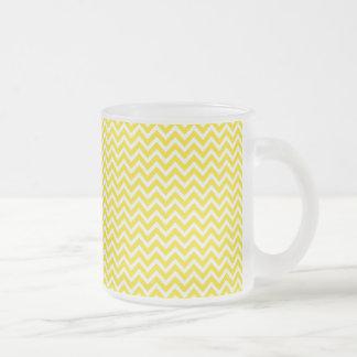 Yellow Chevron Frosted Glass Coffee Mug