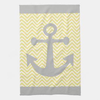 Yellow Chevron Gray Anchor Kitchen Towel