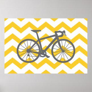 Yellow Chevron Gray Bike Poster