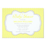 Yellow Chevron Gray Frame Baby Shower Invitations