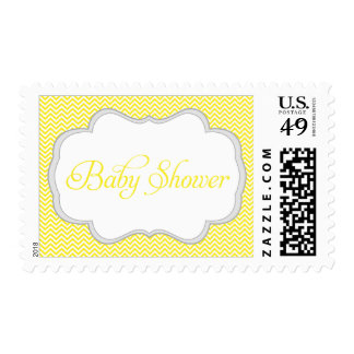 Yellow Chevron Gray Frame Baby Shower Postage