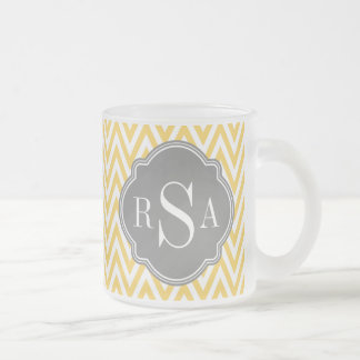 Yellow Chevron Grey Monogram Initial Letters Frosted Glass Coffee Mug