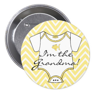 Yellow Chevron I'm The Grandma! Pinback Button