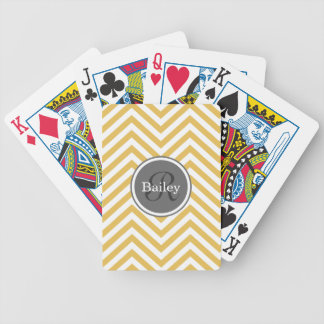 Yellow Chevron Monogram Bicycle Playing Cards