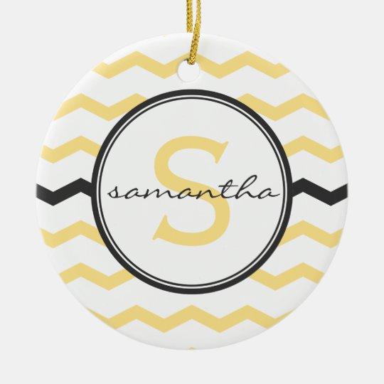 Yellow Chevron Monogram Ceramic Ornament