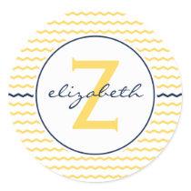 Yellow Chevron Monogram Classic Round Sticker