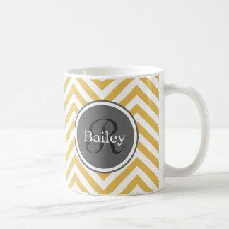 Yellow Chevron Monogram Coffee Mug