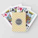 Yellow Chevron Monogram Deck Of Cards