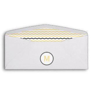 Yellow Chevron Monogram Envelopes