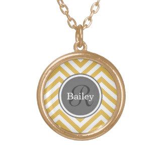Yellow Chevron Monogram Gold Plated Necklace