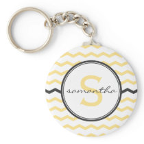 Yellow Chevron Monogram Keychain