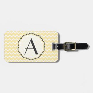Yellow Chevron Monogram Luggage Tag