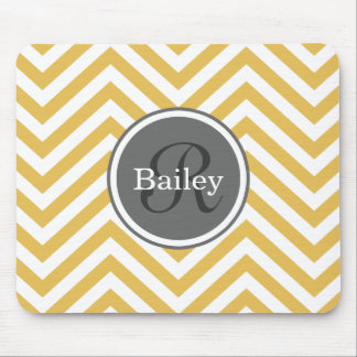 Yellow Chevron Monogram Mouse Pad
