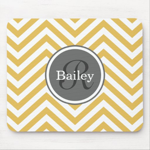Yellow Chevron Monogram Mousepads