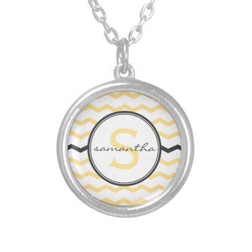 Yellow Chevron Monogram Pendant