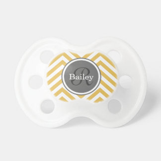 Yellow Chevron Monogram Pacifier