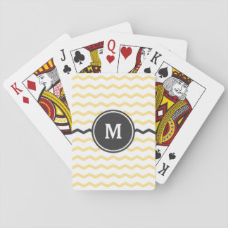 Yellow Chevron Monogram Playing Cards