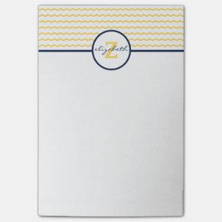 Yellow Chevron Monogram Post-it Notes