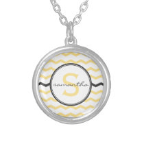 Yellow Chevron Monogram Silver Plated Necklace