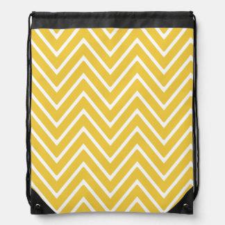 Yellow Chevron Pattern 2 Drawstring Bags