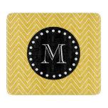 Yellow Chevron Pattern | Black Monogram