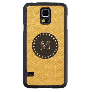 Yellow Chevron Pattern   Black Monogram Carved Maple Galaxy S5 Slim Case