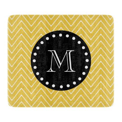 Yellow Chevron Pattern | Black Monogram Cutting Boards
