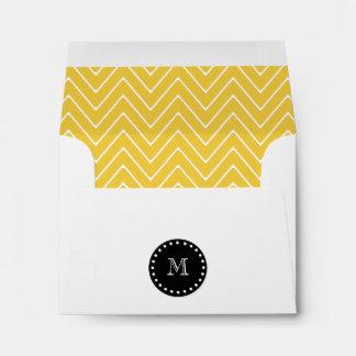 Yellow Chevron Pattern Black Monogram Envelope